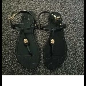 Coach Pier Shiny Jelly Black Sandals Size 6
